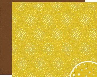 Scrapbook Paper Crate Cottage Collection Fireflies Yellow Brown 12x12
