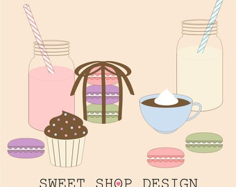 Macaron Food Clip Art, Jar Clip Art, Baking or Cooking Clip Art, Royalty Free Clip Art, Instant Download