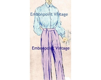 Plus Size (or any size) Vintage 1949 Mens Pants Sewing Pattern - PDF - Pattern No 98b Kenny