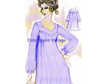 Plus Size (or any size) Vintage 1969 Nightgown Pattern - PDF - Pattern No 74 Darla