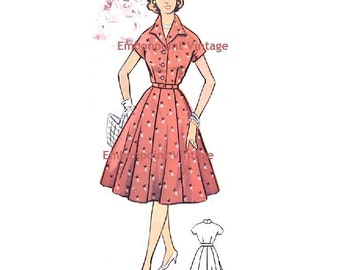 Plus Size (or any size) Vintage 1950s Dress Pattern - PDF - Pattern No 68 Katherine