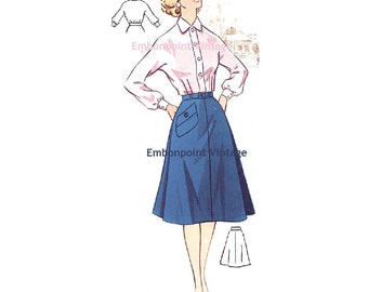 Plus Size (or any size) Vintage 1950s Blouse Pattern - PDF - Pattern No 63a Jean Blouse