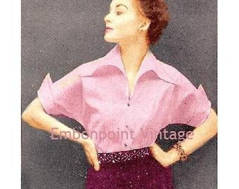 Plus Size (or any size) Vintage 1949 Blouse Sewing Pattern - PDF - Pattern No 48 Fannie