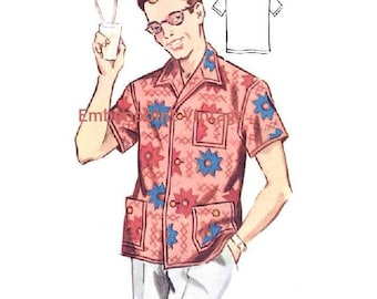 Plus Size (or any size) Vintage 1950s Men's Shirt Pattern - PDF - Pattern No 184 Daniel