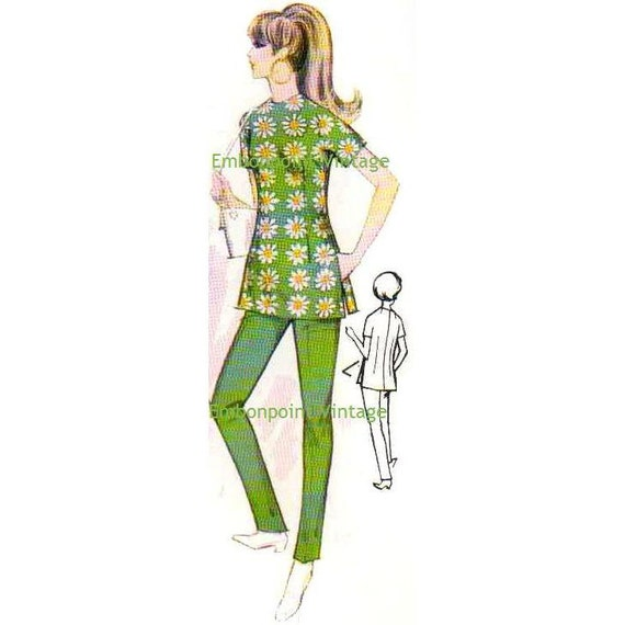 Plus Size (or any size) 1969  Vintage Sewing Pattern - PDF - Pattern No 122 Gwen Pants