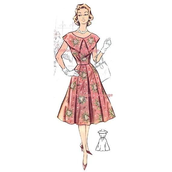 Plus Size (or any size) Vintage 1950s Dress Pattern - PDF - Pattern No 26: Carolyn