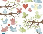 SALE Birds and Butterflies Digital Clipart / Scrapbooking, card design, invitation - INSTANT DOWNLOAD