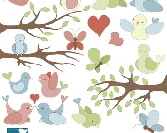 SALE Birds and Butterflies Digital Clipart / Scrapbooking, card design, invitation - INSTANT DOWNLOAD