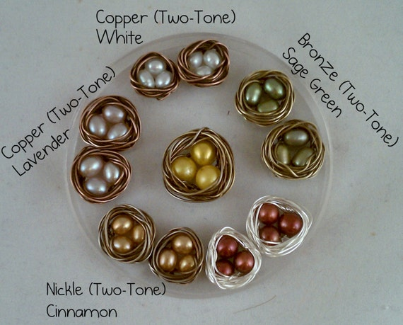 Custom Bird's Nest Earrings - Choose Your Colors