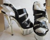 Vintage 70s  shoes Disco stripper sandals Studio 54 black patent leather lucite platform sole US 7.5  UK 5.5
