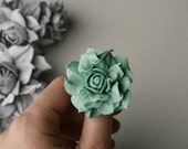 Soft green leather rose flower ring