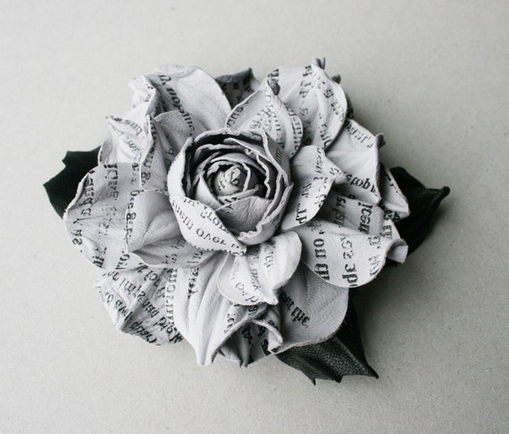 Newspaper style grey leather rose flower brooch / hair clip