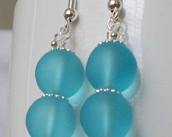 Frosty Aqua Sea Glass Bead Wedding Party Drop Earrings