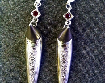 Etched Silver dangle spiked earrings