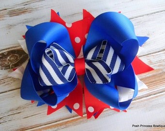 Hair bows, Big Hair bows, Red, White, and Blue Bow, Stacked Boutique Hair Bow, Girls, Baby, Toddler Hair bows, Custom Hair Bows, Hair bows