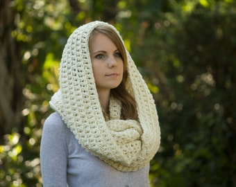 Infinity Scarf, Oversized Hooded Cowl, Cream, Off-white Crochet Circle Scarf