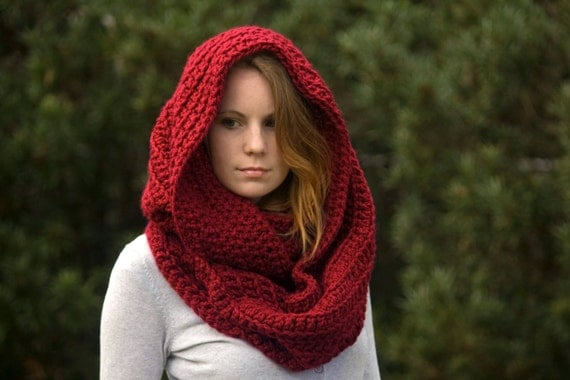 Circle Scarf, Loop Scarf, Red Chunky Cowl