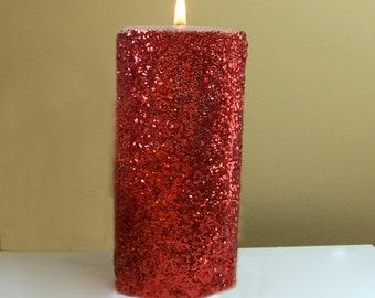 Red Glitter Unscented Pillar Candle - 4, 6, 9 inch - FREE GIFT WRAP