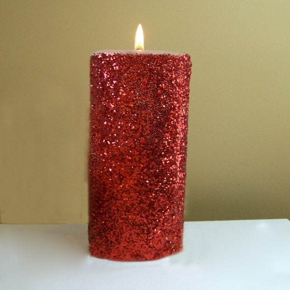 Red glitter unscented pillar candle 4 6 9 inch for Shimmer pillar candle