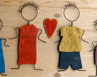 Family Recycled Metal Art Set of 4 Mom Dad Daughter Son