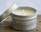 Pear & Pomegranate Soy Candle Tin 4 oz. - pear candle - pomegranate candle - fruit candle - fall candle - food candle - holiday candle