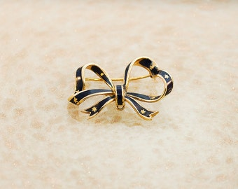 Antique 18K Yellow Gold and Blue Enamel Bow Pin