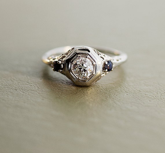 Diamond Sapphire Antique Engagement Ring by SITFineJewelry on Etsy