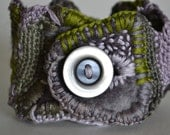 "Cuff Bracelet, Felted, Embroidered, One of a Kind, Upcycled Button, ""Lavender and Sage On a Grey Day"""