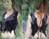 Ozora Fairy Top ~ dark gothic Elvenforest Lycra stretch Bustier Vest