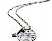 Music necklace, silver necklace with sheet music and silver music note charm.