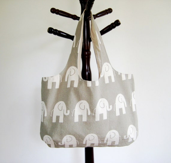 Elephant Tote Bag, Elephant Bag, Beach Bag, Canvas Tote