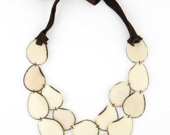 Tagua Statement Necklace / Tagua Jewelry / Tagua Necklace / Ivory White Necklace / Statement Necklace / Fair Trade / Tagua Nut Jewelry