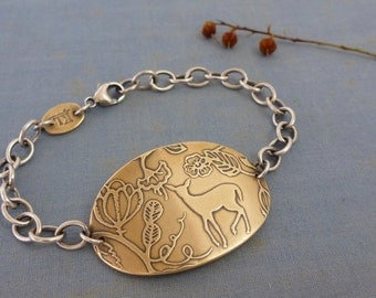 Fawn in Jacobean Forest ID bracelet -  fawn bracelet - deer bracelet - brass charm - jacobean embroidery - woodland animal bracelet