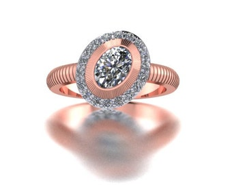 Rose gold oval diamond engagement ring.