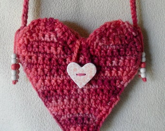 Pink Heart Crochet Cell Phone Purse with Heart Button-Adorable