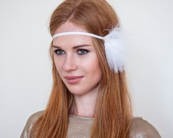 1920s White Feather Rhinestone Headband : 20s Party, Flapper Regency Look Style, Daisy Buchanan, Swan Lake Headband