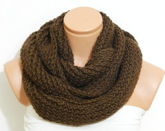 Sale- Knitted infinity Scarf,Nomad scarf,Block Infinity Scarf.Loop Scarf, Circle Scarf, Neck Warmer. Brown Crochet Infinity