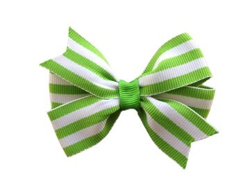 Lime green striped hair bow - lime green hair bow, 3 inch bow, pinwheel bow, toddler bow, girls hair bows, baby bows