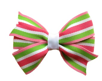 25% off SALE  Pink & lime green hair bow - striped hair bow