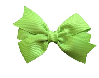 3 inch apple green hair bow - apple green bow