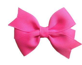Neon pink hair bow - pink bow, toddler bow