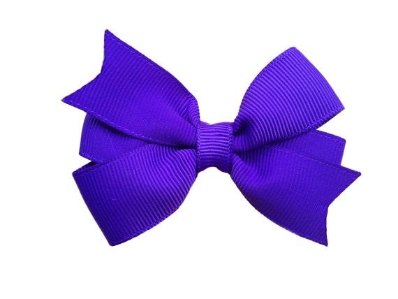 3 inch royal purple hair bow - purple bow, 3 inch bows, toddler bows, girls hair bows, baby bows, pinwheel bows, hair clip, girls bows