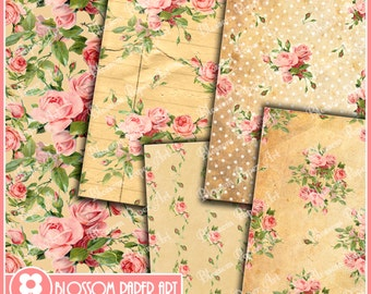 Floral Digital Paper Old Paper Roses Digital Scrapbooking Pack, Decoupage, Digital Paper - Printable - DIY - 1620