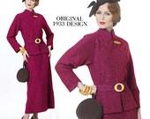 1933 Vogue Vintage Original Design V-Neck Funnel Collar, A-Line Dress, Detachable Peplum, Re-Issued Vogue 8686, Size 14-16-18-20, Uncut