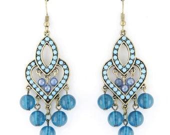 Simple Bohemia Style Blue Beads Dangle Drop Earrings B5