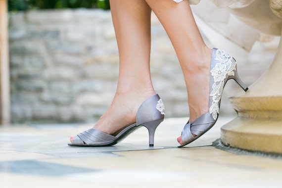 Wedding Shoes Silver Grey Wedding Heels Bridal Shoes With