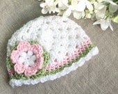 Crochet Baby Hat - Baby Beanie Hat - Handmade Baby Newborn Infant Toddler Girls Hat - White Pink and Green Hat - MADE TO ORDER