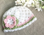 Gehäkelte Baby Hut - Baby Mütze Hut - handgefertigte Baby Neugeborene Kleinkinder kleinkind mädchen Hut - weißen Rosa und grünen Hut - KUNDENSPEZIFISCH KONFEKTIONIERT