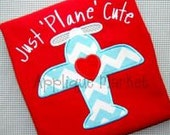 Just Plane Cute applique tshirt or onesie with free personalization
