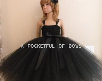Black Flower Girl Dress, Girls Black Formal Dresses, Long Tulle Tutu Dress